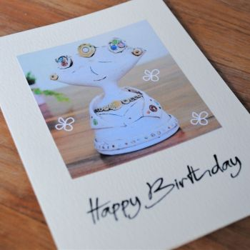 Birthday card - Lady statue with dots &  circle