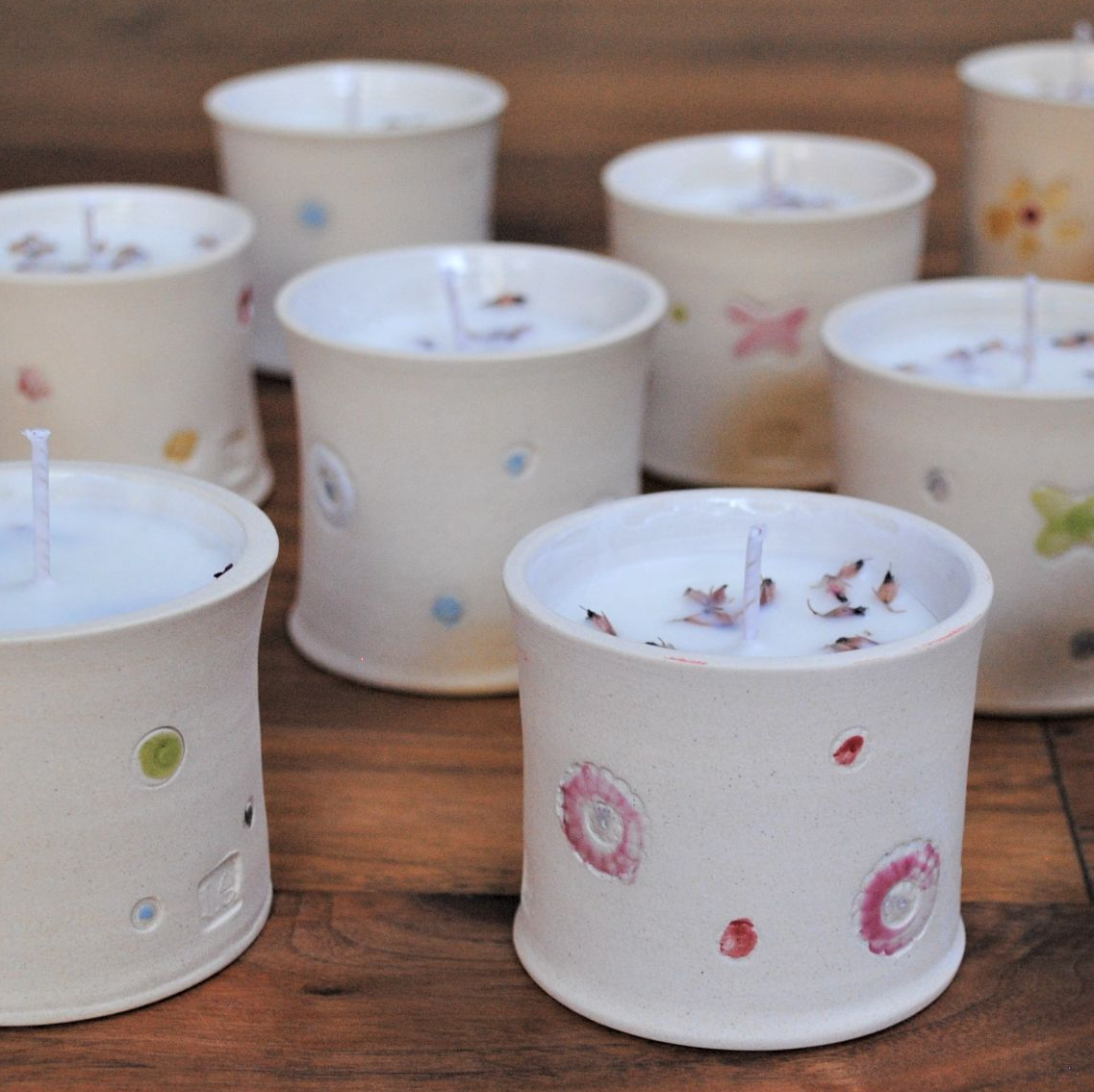 Fragrance eco-friendly Candle in a reusable ceramic pot.