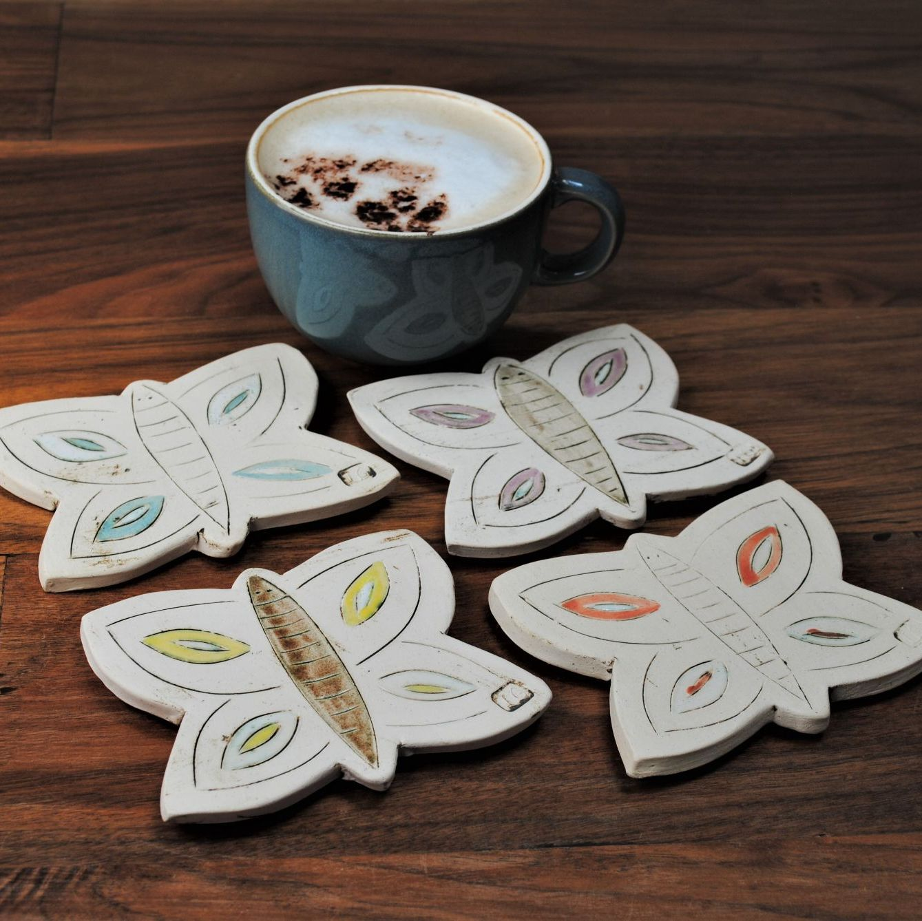 Ceramic coaster, set of four butterflies.