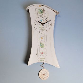 "Ceramic wall clock with pendulum ""Flowers & Leaves"""