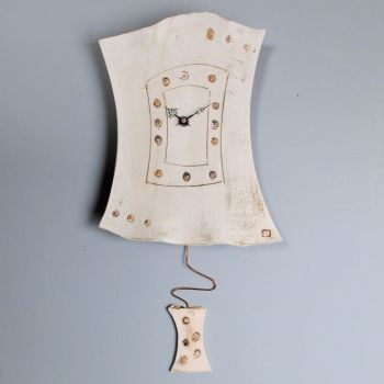 "Ceramic pendulum wall clock ""Flowers print"""