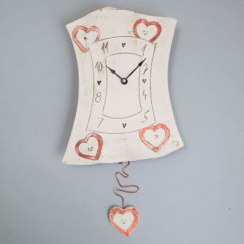 "Ceramic pendulum wall clock ""Heart"""