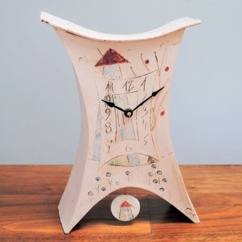 "Ceramic mantel clock - Large with pendulum ""House"""