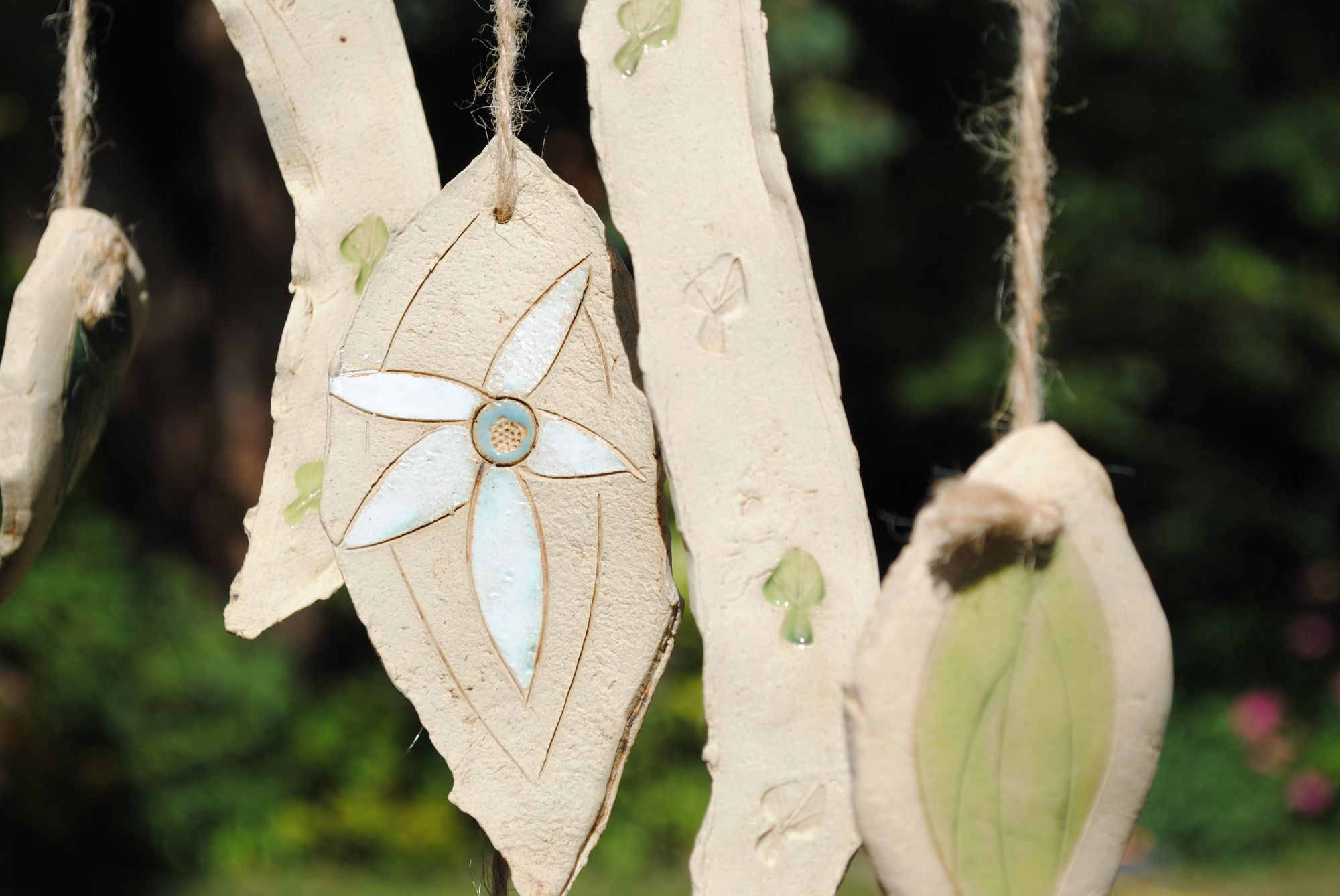 Wind Chime with leaves and flowers.