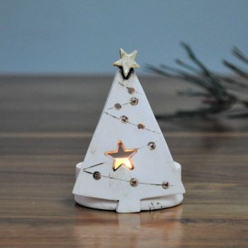 "Christmas tea light holder ""Tree red"""