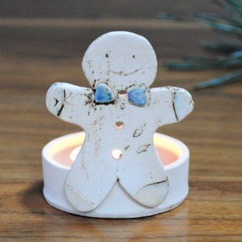 "Christmas tea light holder ""Gingerbread man blue bow"""