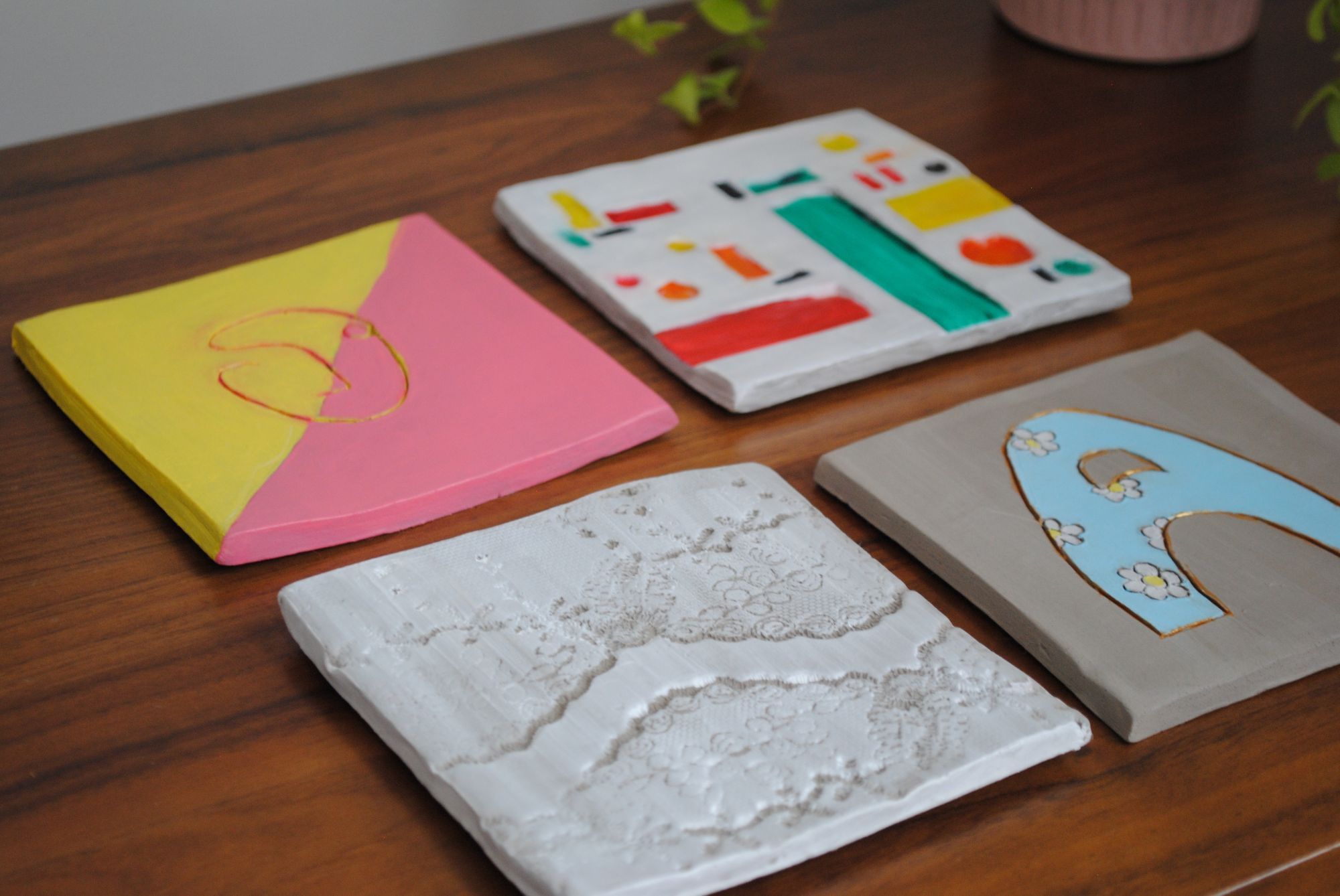 DIY home pottery coasters making kit.