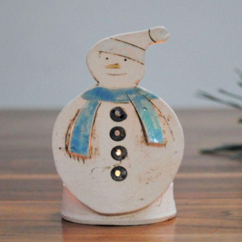 Christmas decoration snowman tea light holder