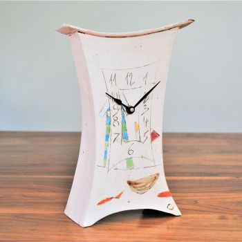 "Ceramic mantel clock - Large ""Boat, beach hut & fish"""
