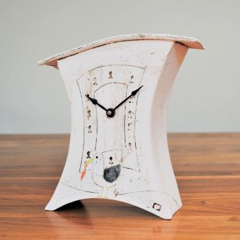 "Ceramic mantel clock - Medium ""Seagull with fish"""