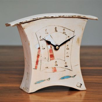 "Ceramic mantel clock - Small ""Beach hut and fish"""