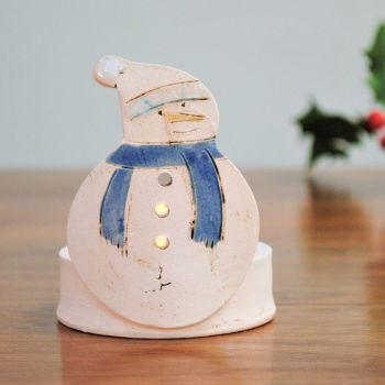 "Christmas tea light holder ""Snowman blue scarf"""