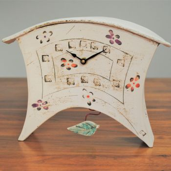 "Ceramic mantel clock - Large with Pendulum ""Leaf"""
