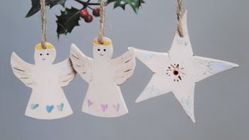 """Christmas tree decoration  """"Angels and star"""" set of 3"""