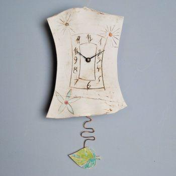 "Ceramic pendulum wall clock ""Flowers"""