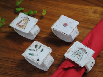 "Napking rings  ""House, flower and leaf "" set of four"