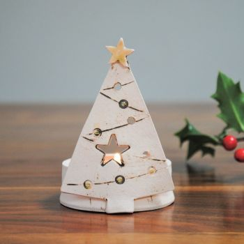 "Christmas tea light holder ""Tree- yellow"""