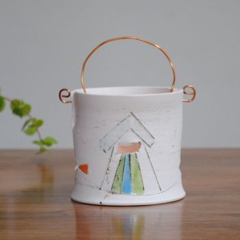 Tea light with copper wire - Beach huts & fish