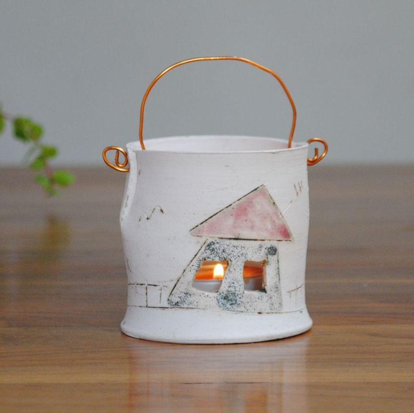 Tea light with copper wire  - House & tree