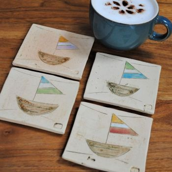 "Coasters  "" Boats ""  set of four"