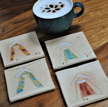 "Coasters  "" Beach huts ""  set of four"