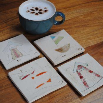 "Coasters  "" Nautical ""  set of four"