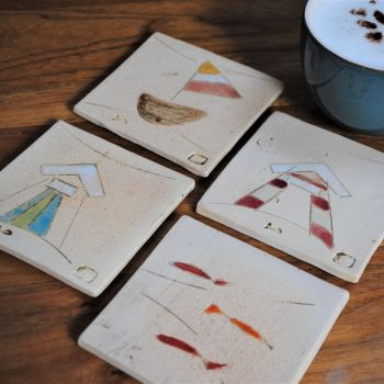 "Coasters  "" Seaside ""  set of four"