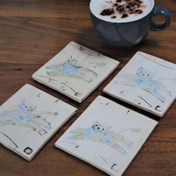 "Coasters ""Cat"" set of four"