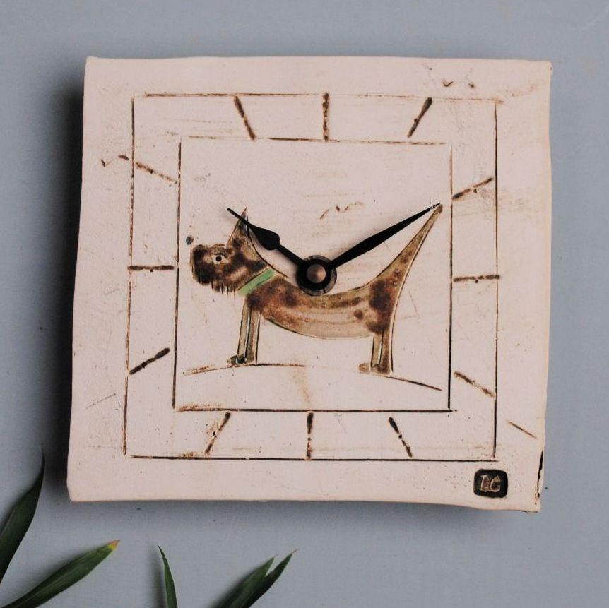 Handmade ceramic square wall clock with dog motif