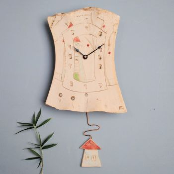 "Ceramic pendulum wall clock ""house"""