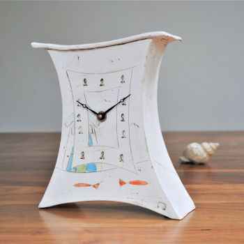 "Ceramic mantel clock - Medium ""Beach hut and fish"""