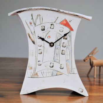 "Ceramic mantel clock - Medium ""House and tree"""