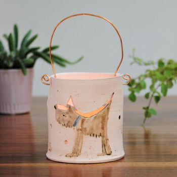 Tea light with copper wire - Dog