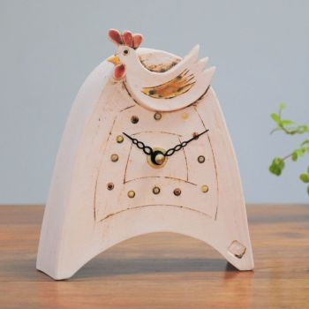 "Ceramic mantel clock  small rounded ""Chicken / Cockerel"""