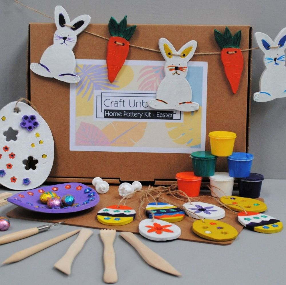 Craft Unboxed - Home pottery kit, make and paint easter decorations.