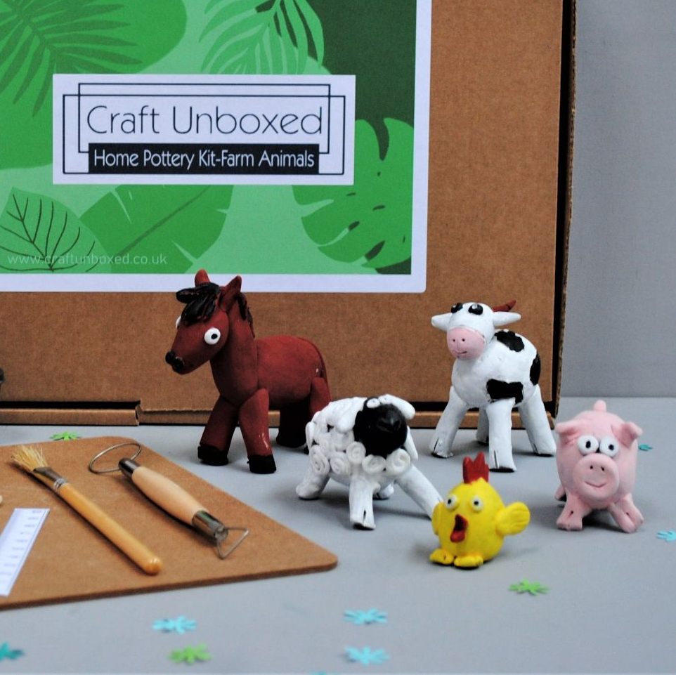Craft Unboxed Home Pottery Kit farm animals