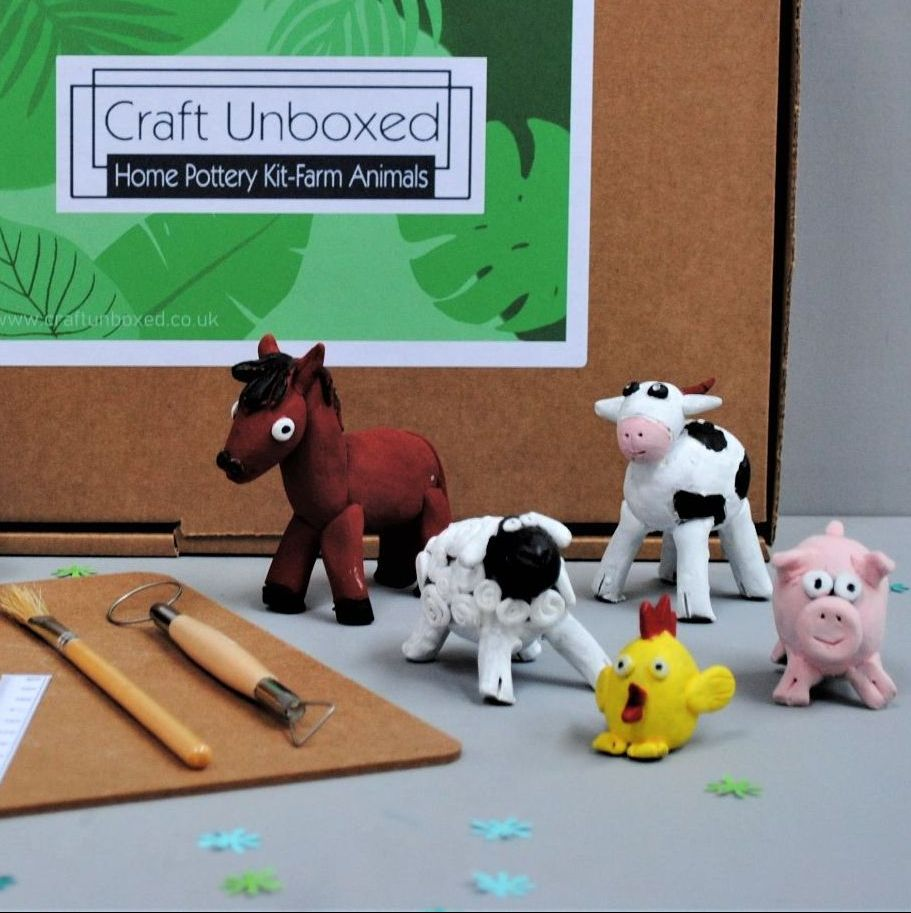 Home pottery kit - Farm Animals