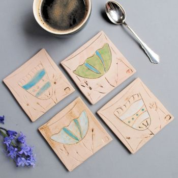"""Coasters """"Floral"""" set of four"""
