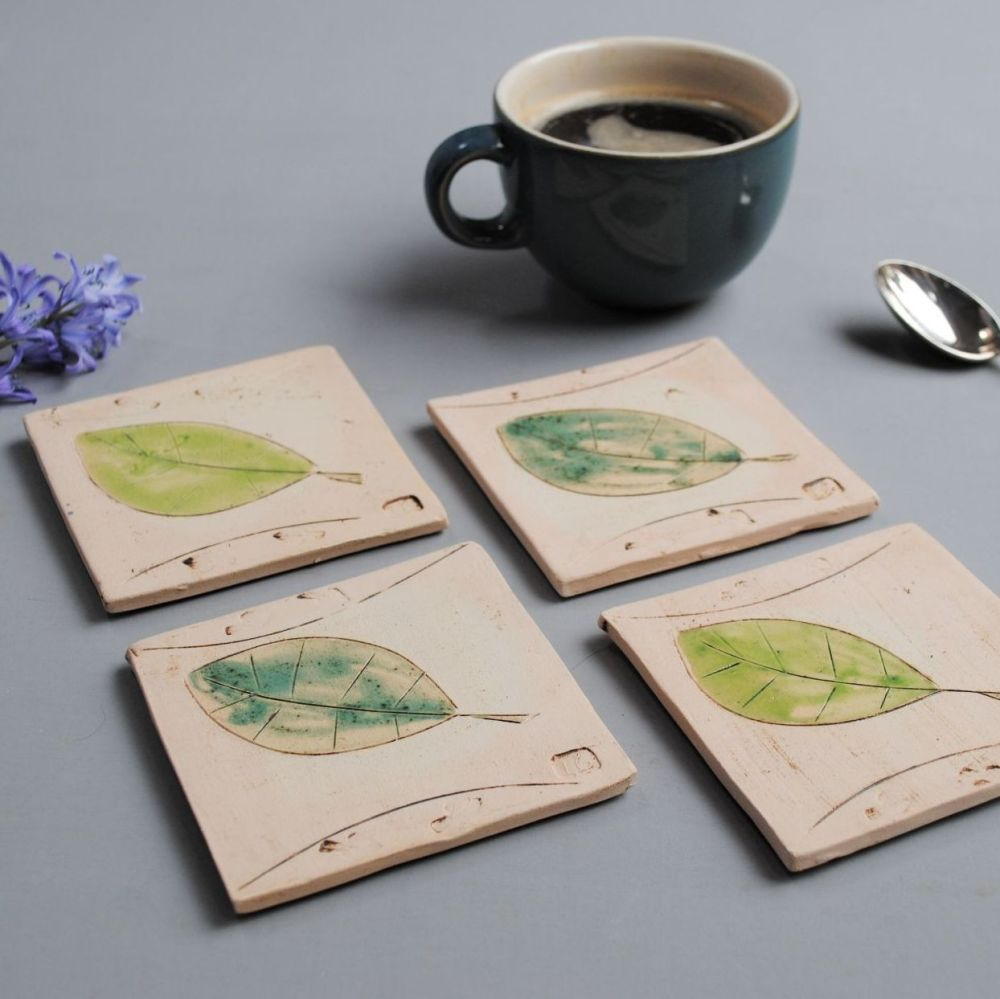 Coasters green leaves