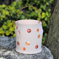 . . . NEW PRICE . . . . . . .was £26 . . . Tealight - Dots & spots, red & orange