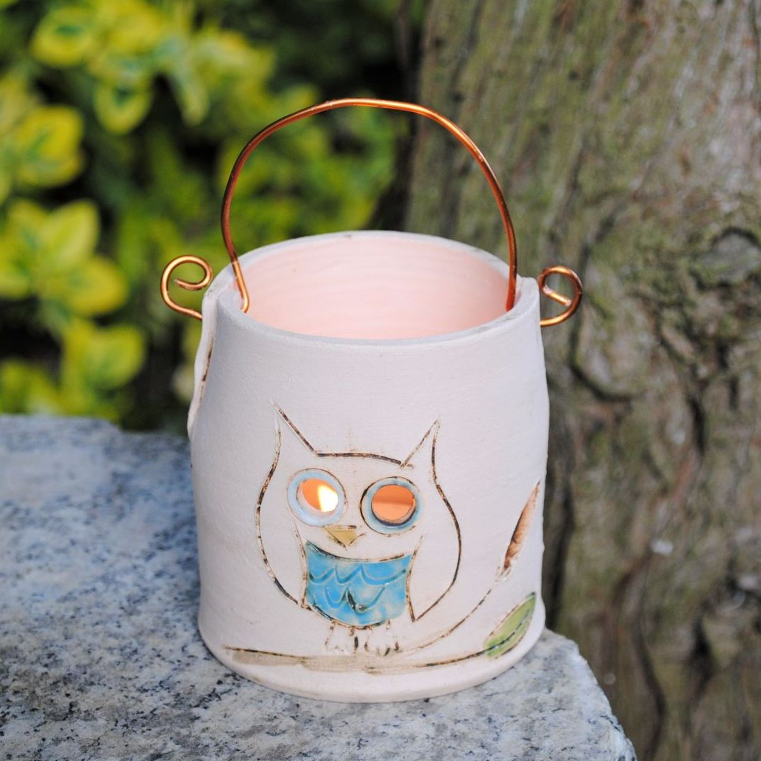 Blue owl tealight holder with copper wire  hoop for hanging