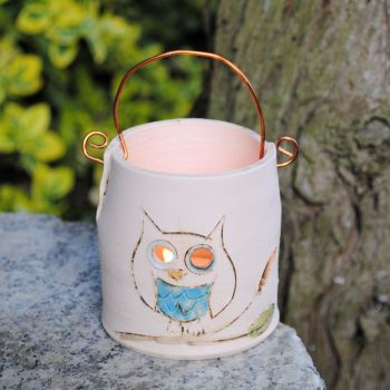 Tealight with copper wire  - Owl