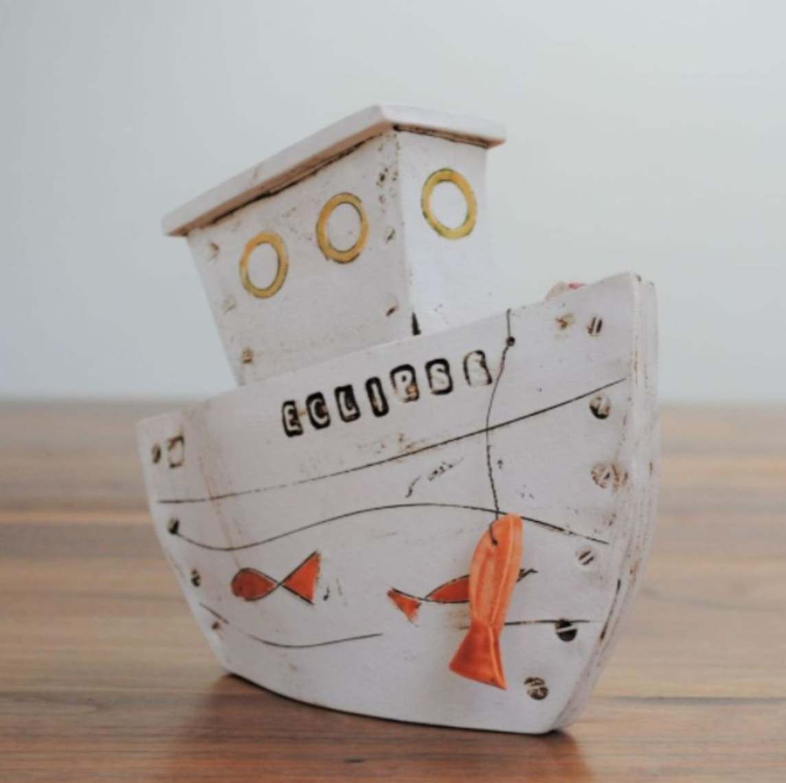 handmade ceramic boat  for interior decor