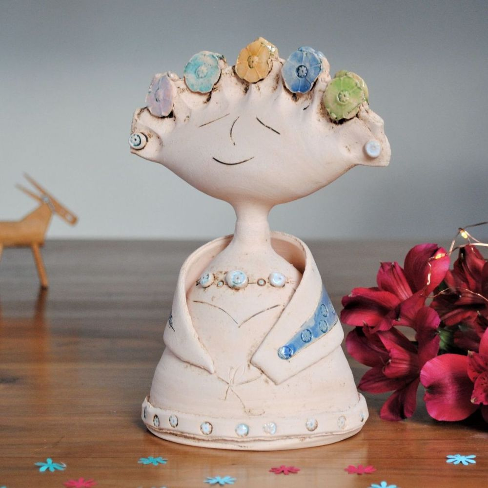 Handmade figurin,  Lady with colourful flowers