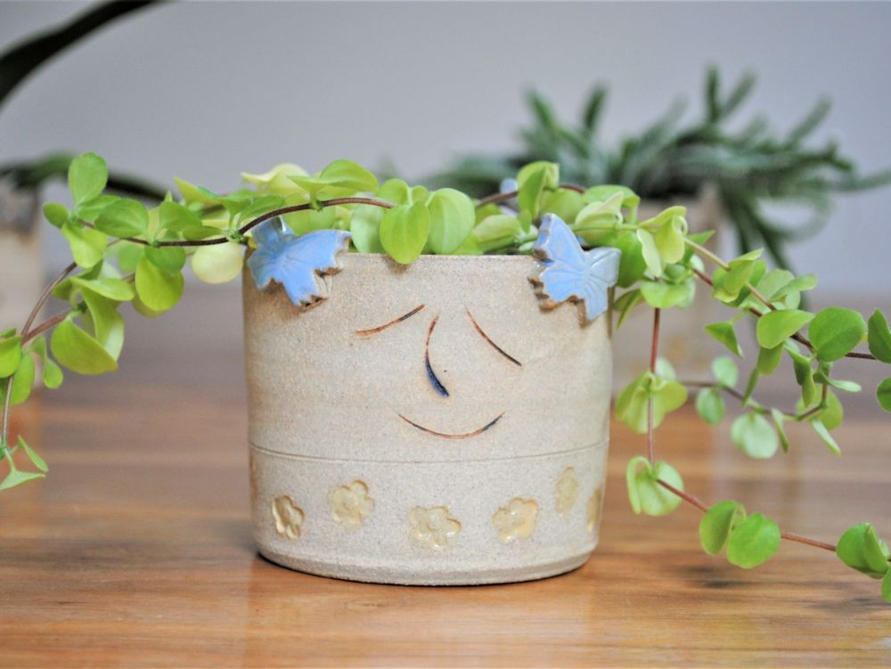 Ceramic planter with butterflies and yellow flowers.