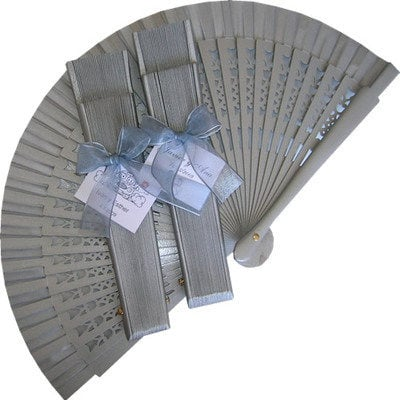 Silver Decorated Wedding Fan with Organza Bow