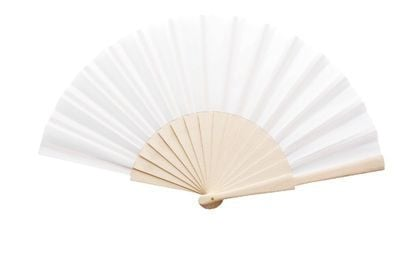 Plain White Fabric Wedding Fan