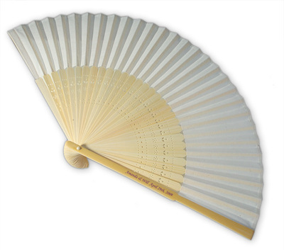 Plain White Fabric & Bamboo Fans  - Personalised Handle