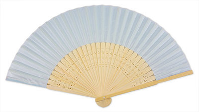 Sky Blue Silk & Bamboo Fan