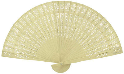 Cream Sandalwood Fan (23cm)